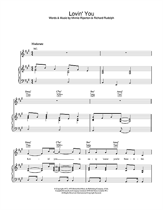 Minnie Riperton Lovin' You sheet music notes and chords. Download Printable PDF.