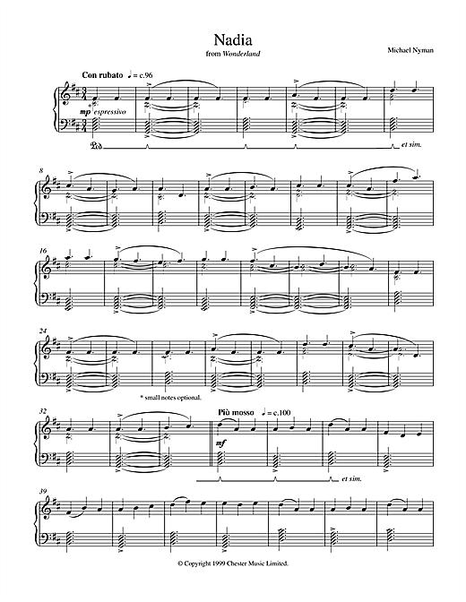 Michael Nyman Nadia (from Wonderland) sheet music notes and chords. Download Printable PDF.