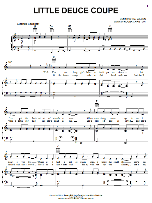 The Beach Boys Little Deuce Coupe sheet music notes and chords. Download Printable PDF.