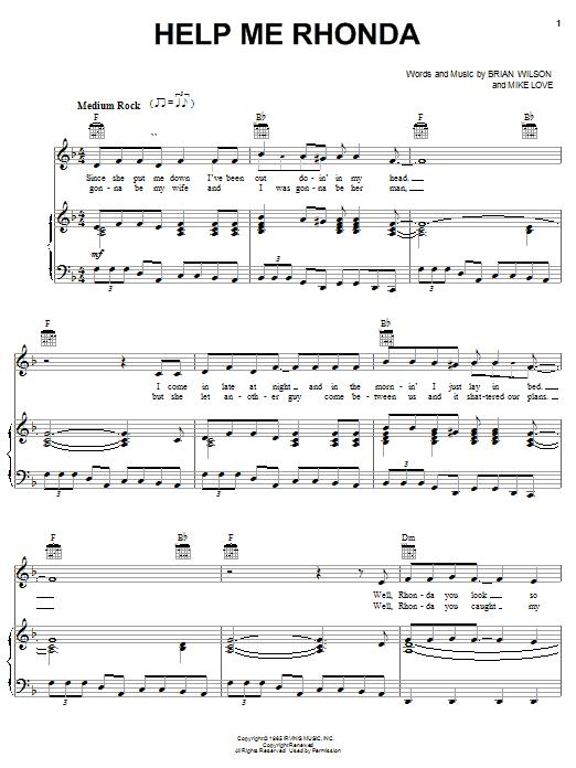 The Beach Boys Help Me Rhonda sheet music notes and chords. Download Printable PDF.