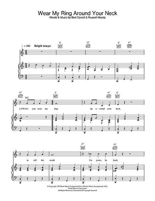 Elvis Presley Wear My Ring Around Your Neck sheet music notes and chords. Download Printable PDF.