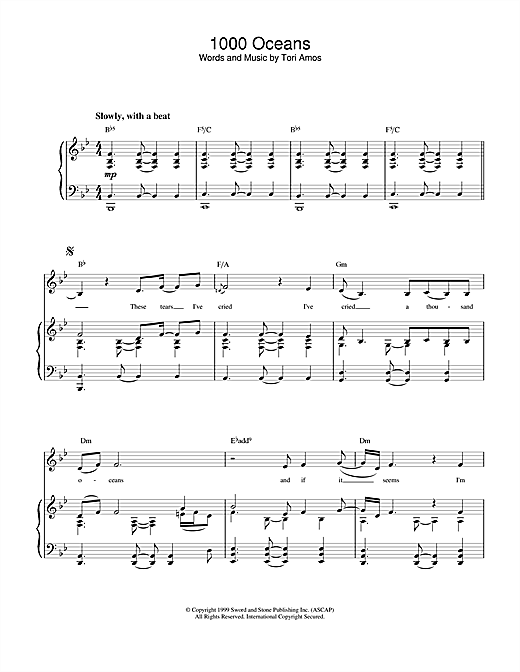 Tori Amos 1000 Oceans sheet music notes and chords. Download Printable PDF.