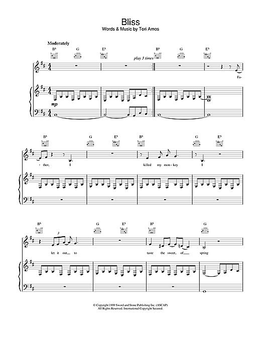 Tori Amos Bliss sheet music notes and chords. Download Printable PDF.