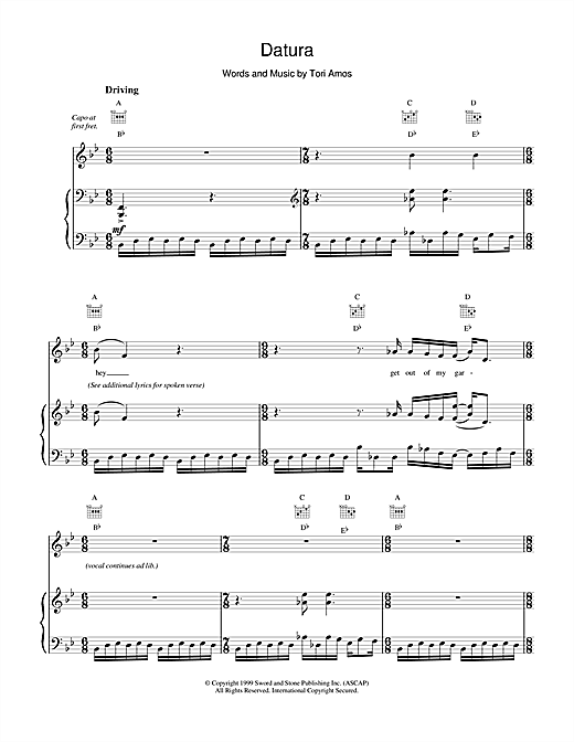 Tori Amos Datura sheet music notes and chords. Download Printable PDF.