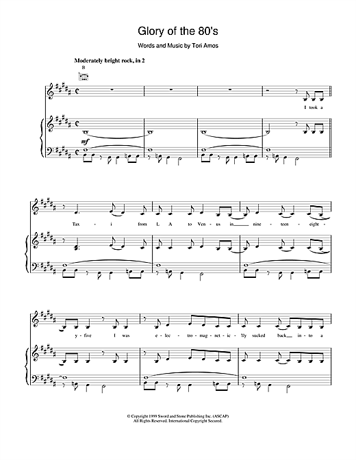 Tori Amos Glory of the 80s sheet music notes and chords. Download Printable PDF.