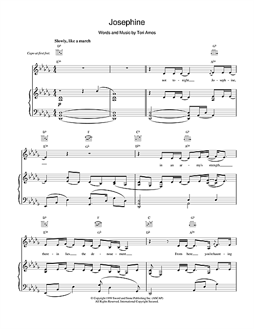 Tori Amos Josephine sheet music notes and chords. Download Printable PDF.