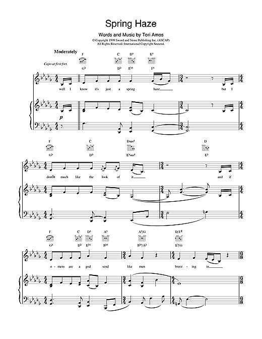 Tori Amos Spring Haze sheet music notes and chords. Download Printable PDF.