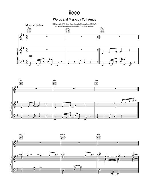 Tori Amos iieee sheet music notes and chords. Download Printable PDF.