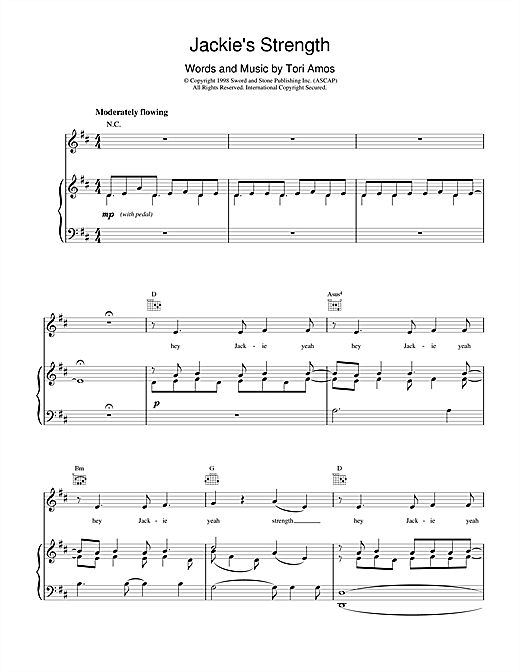 Tori Amos Jackie's Strength sheet music notes and chords. Download Printable PDF.