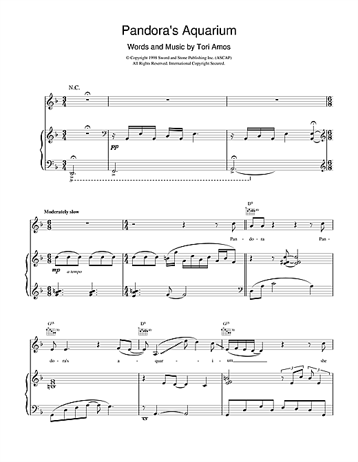 Tori Amos Pandora's Aquarium sheet music notes and chords. Download Printable PDF.