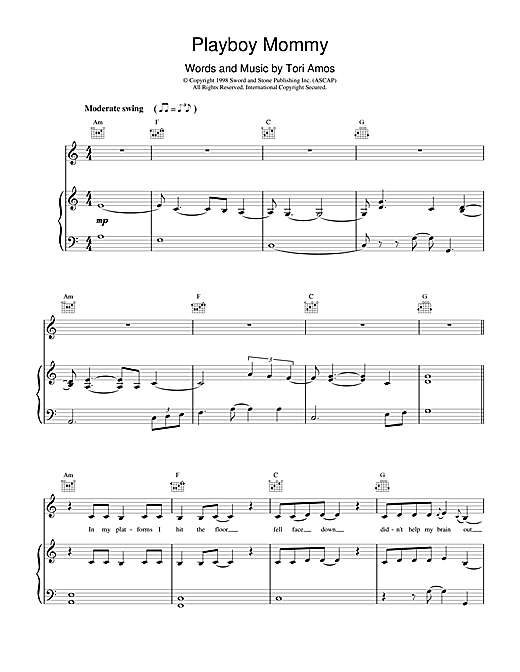 Tori Amos Playboy Mommy sheet music notes and chords. Download Printable PDF.