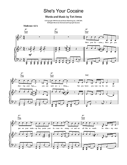 Tori Amos She's Your Cocaine sheet music notes and chords. Download Printable PDF.
