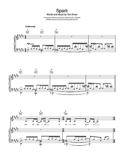 Tori Amos Spark sheet music notes and chords. Download Printable PDF.