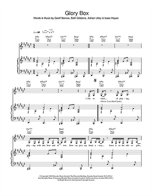 Portishead Glory Box sheet music notes and chords. Download Printable PDF.