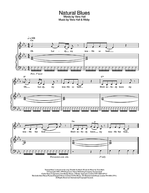 Moby Natural Blues sheet music notes and chords. Download Printable PDF.