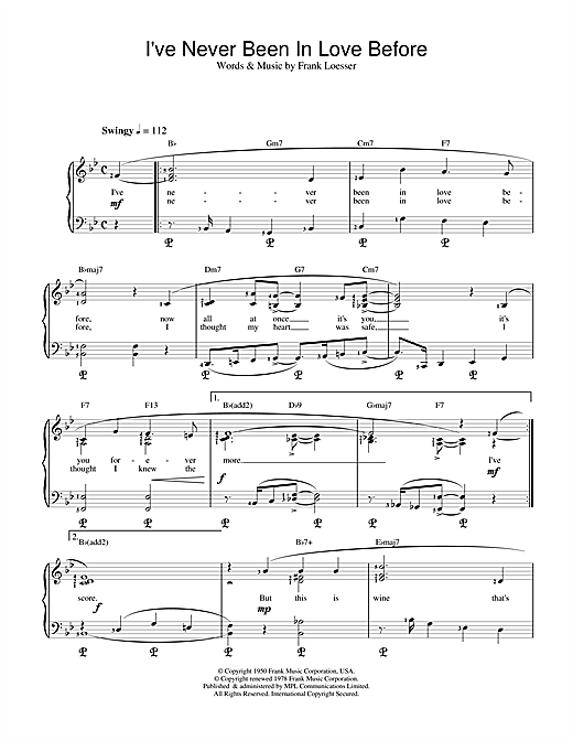 Frank Loesser I've Never Been In Love Before (from Guys And Dolls) sheet music notes and chords. Download Printable PDF.