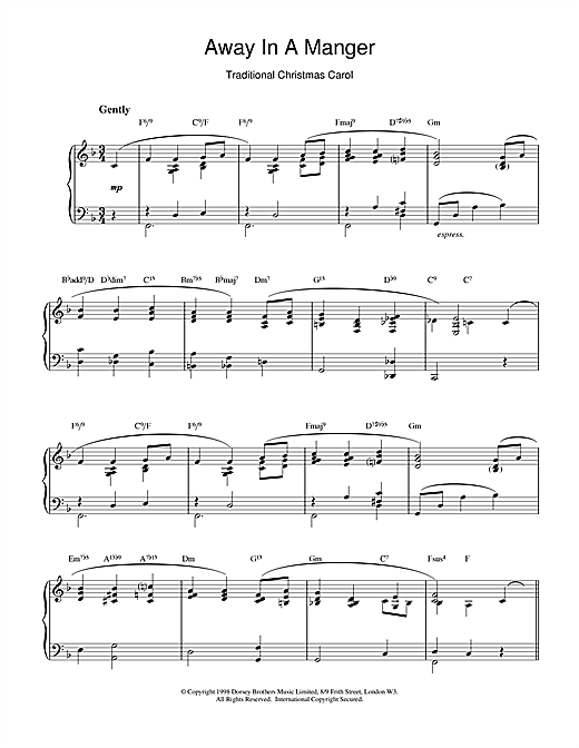 Christmas Carol Away In A Manger (jazzy arrangement) sheet music notes and chords. Download Printable PDF.