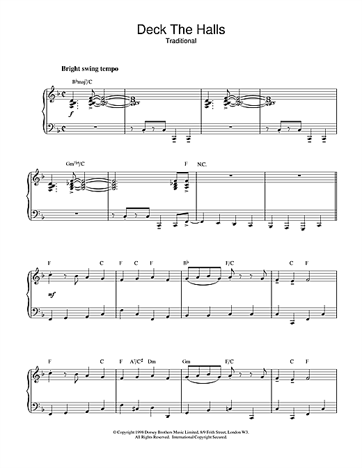 Christmas Carol Deck The Halls (jazzy arrangement) sheet music notes and chords. Download Printable PDF.