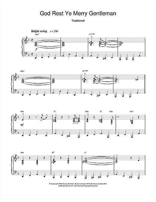 Christmas Carol God Rest Ye Merry, Gentleman (jazzy arrangement) sheet music notes and chords. Download Printable PDF.
