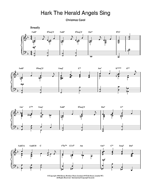 Christmas Carol Hark! The Herald Angels Sing (jazzy arrangement) sheet music notes and chords. Download Printable PDF.