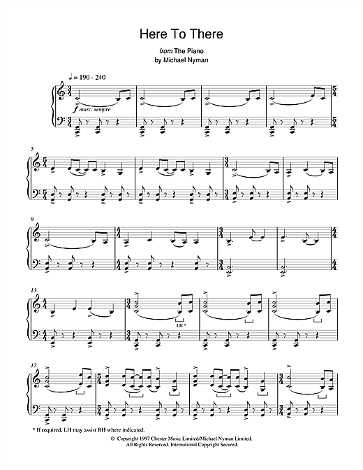 Michael Nyman Here To There (from The Piano) sheet music notes and chords. Download Printable PDF.