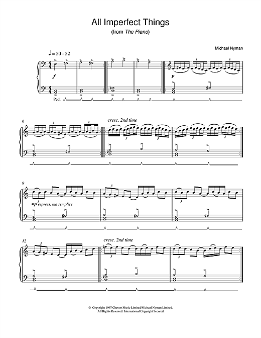 Michael Nyman All Imperfect Things (from The Piano) sheet music notes and chords. Download Printable PDF.