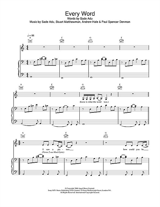 Sade Every Word sheet music notes and chords. Download Printable PDF.