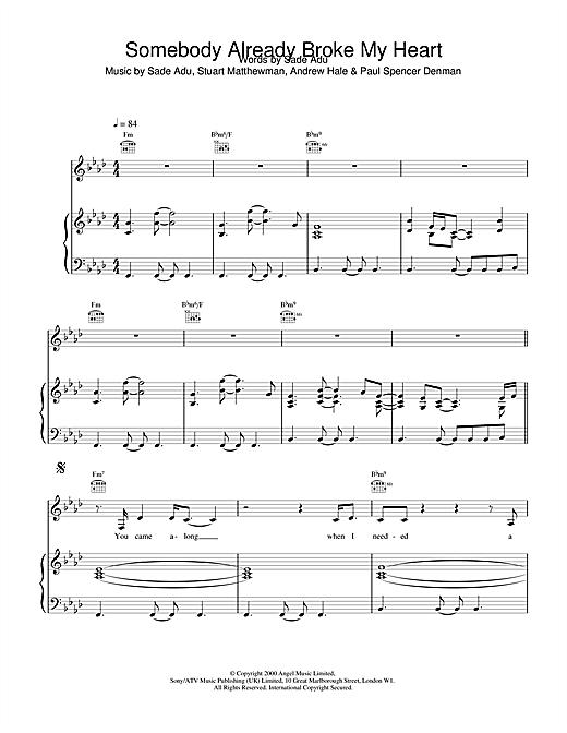Sade Somebody Already Broke My Heart sheet music notes and chords. Download Printable PDF.
