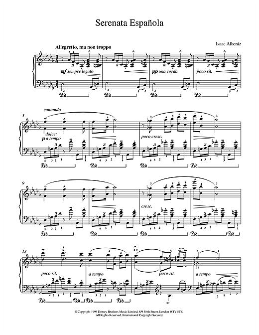 Isaac Albeniz Serenata Espanola sheet music notes and chords. Download Printable PDF.