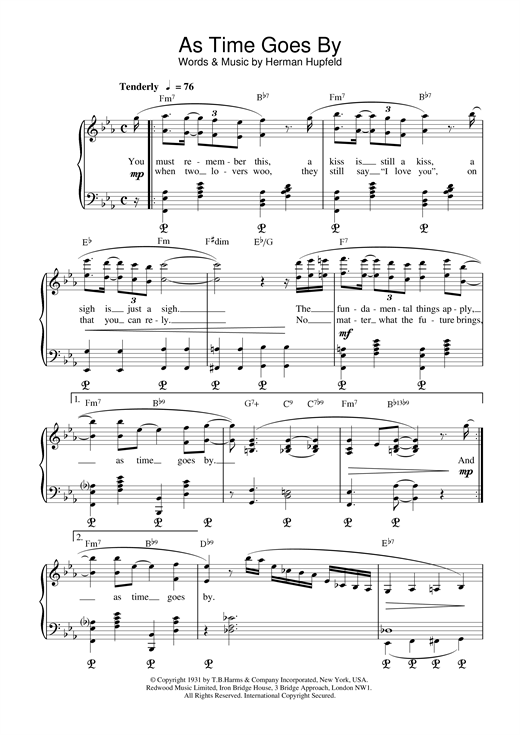 Herman Hupfeld As Time Goes By sheet music notes and chords. Download Printable PDF.