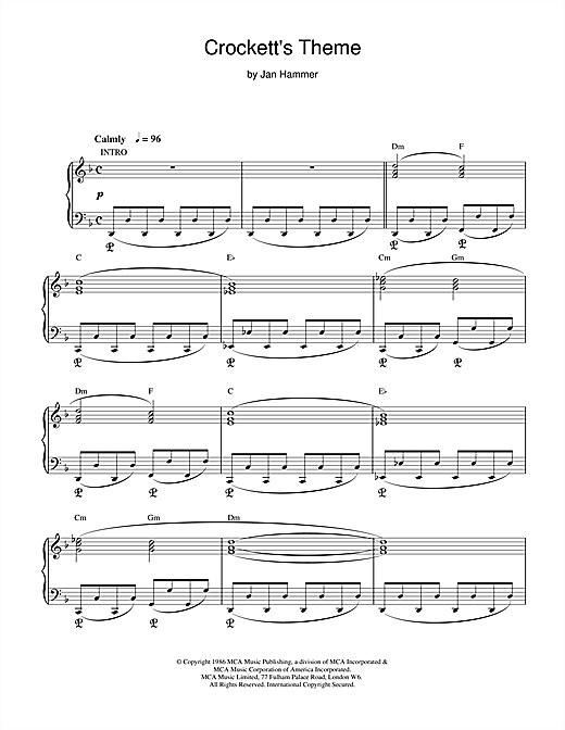 Jan Hammer Crockett's Theme (from Miami Vice) sheet music notes and chords. Download Printable PDF.