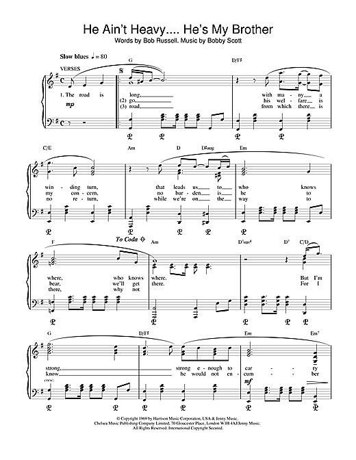 The Hollies He Ain't Heavy, He's My Brother sheet music notes and chords. Download Printable PDF.