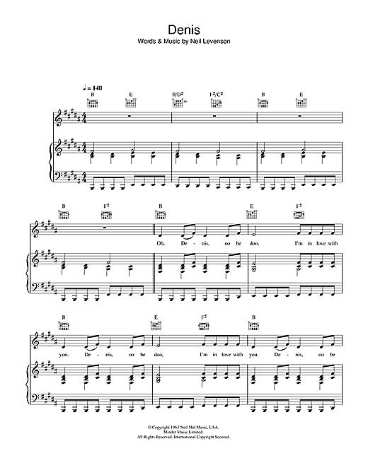 Blondie Denis sheet music notes and chords. Download Printable PDF.