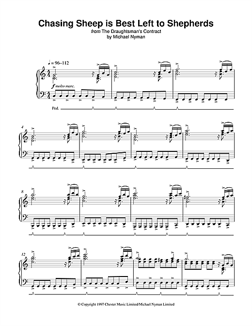 Michael Nyman Chasing Sheep Is Best Left To Shepherds (from The Draughtsman's Contract) sheet music notes and chords. Download Printable PDF.