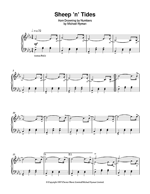 Michael Nyman Sheep 'n' Tides (from Drowning By Numbers) sheet music notes and chords. Download Printable PDF.