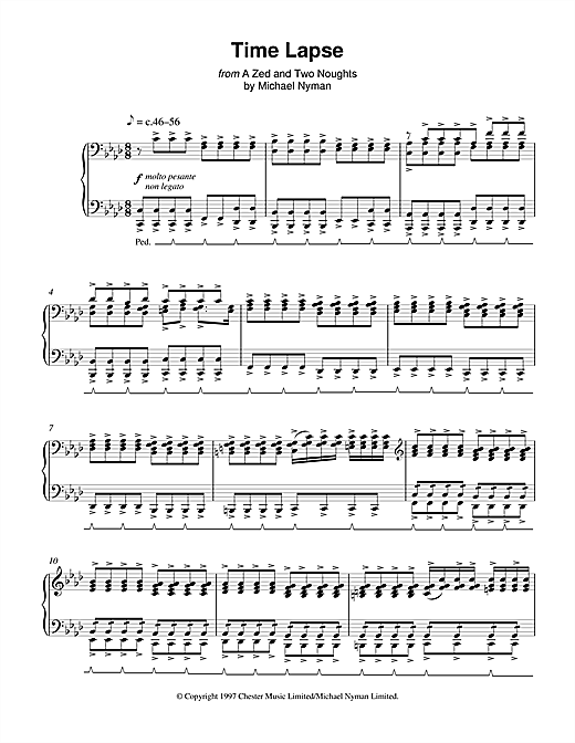 Michael Nyman Time Lapse (from A Zed And Two Noughts) sheet music notes and chords. Download Printable PDF.