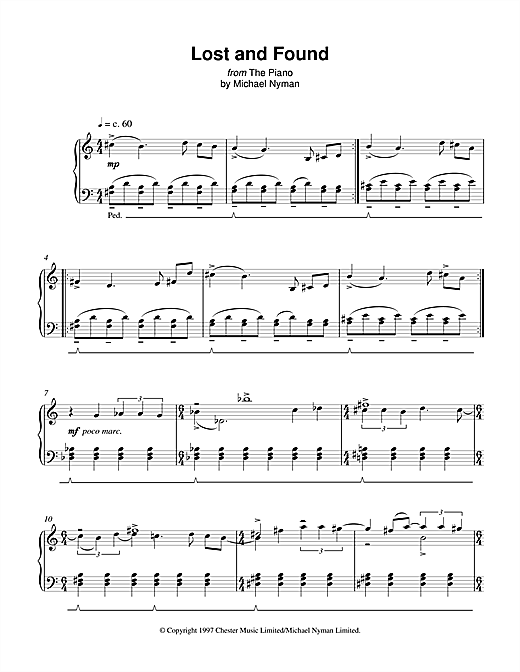 Michael Nyman Lost And Found (from The Piano) sheet music notes and chords. Download Printable PDF.