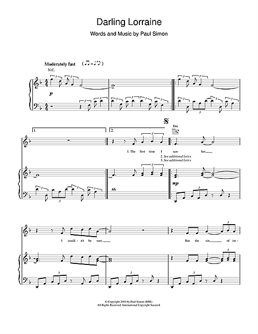 Paul Simon Darling Lorraine sheet music notes and chords. Download Printable PDF.