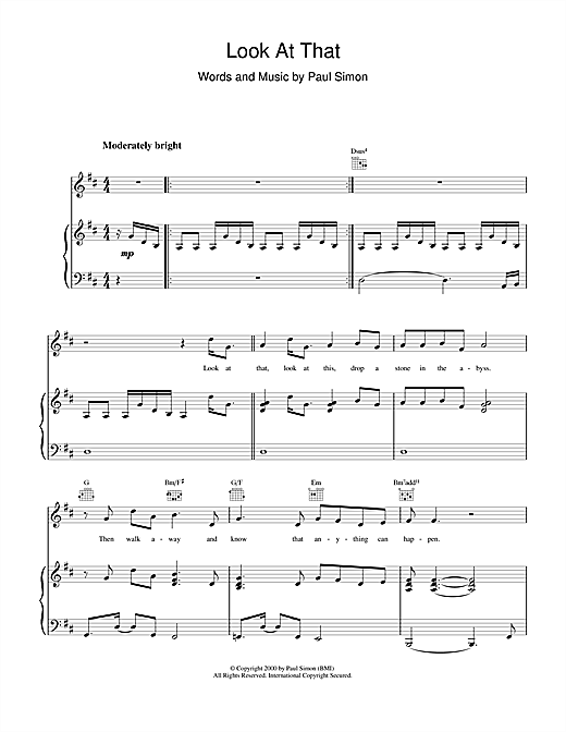 Paul Simon Look At That sheet music notes and chords. Download Printable PDF.