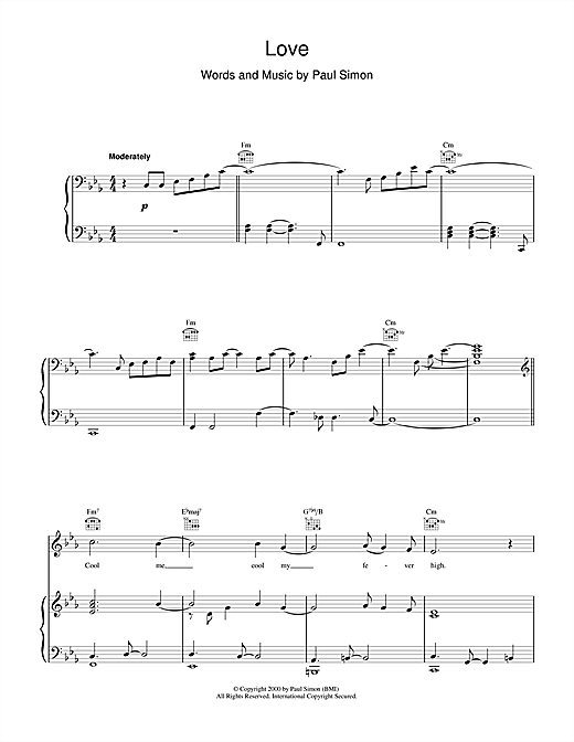 Paul Simon Love sheet music notes and chords. Download Printable PDF.