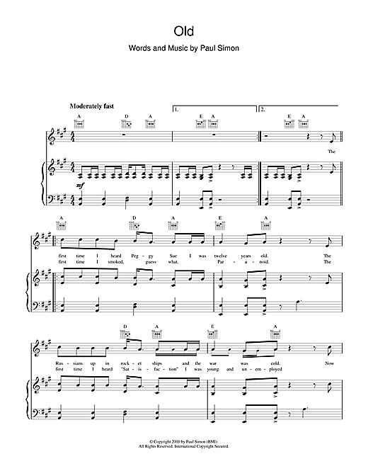 Paul Simon Old sheet music notes and chords. Download Printable PDF.
