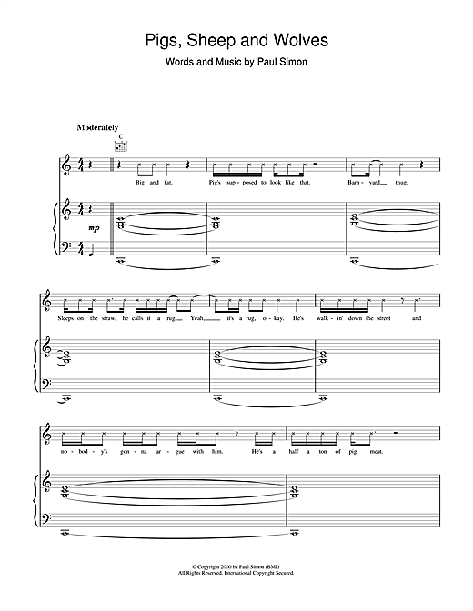 Paul Simon Pigs, Sheep And Wolves sheet music notes and chords. Download Printable PDF.