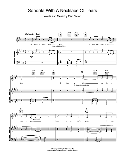 Paul Simon Senorita With A Necklace Of Tears sheet music notes and chords. Download Printable PDF.