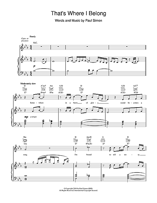 Paul Simon That's Where I Belong sheet music notes and chords. Download Printable PDF.