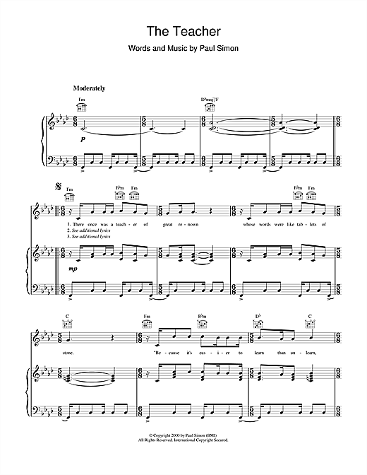 Paul Simon The Teacher sheet music notes and chords. Download Printable PDF.