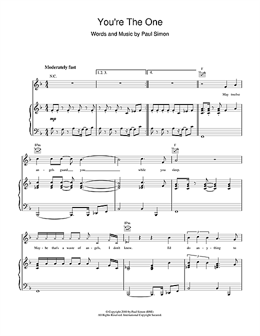 Paul Simon You're The One sheet music notes and chords. Download Printable PDF.