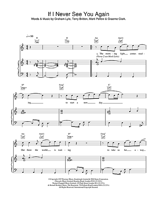 Wet Wet Wet If I Never See You Again sheet music notes and chords. Download Printable PDF.