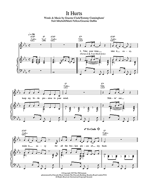 Wet Wet Wet It Hurts sheet music notes and chords. Download Printable PDF.