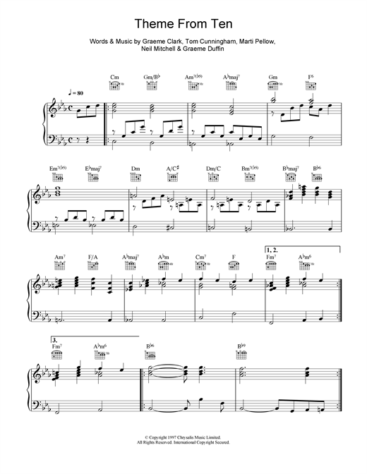 Wet Wet Wet Theme From Ten sheet music notes and chords. Download Printable PDF.