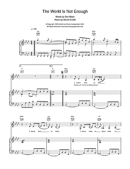 Garbage The World Is Not Enough (theme from the James Bond film) sheet music notes and chords. Download Printable PDF.